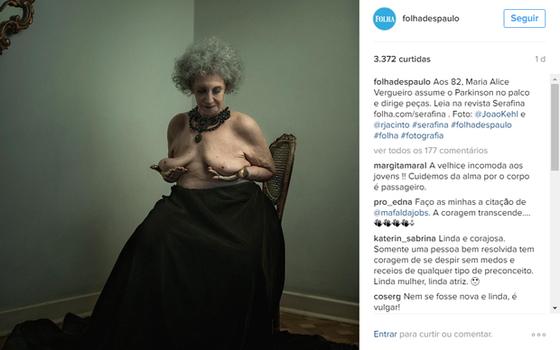 Reprodução do Instagram da Folha de S. Paulo. Foto foi censurada (Foto: Reprodução)
