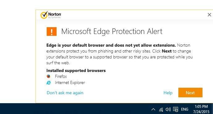 Norton dá alerta e pede que usuários evitem Microsoft Edge no Windows 10  Notícias  TechTudo