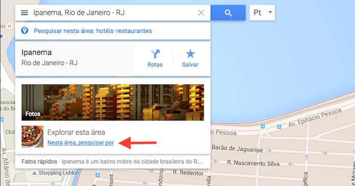 Acessando a função explorar área do Google Maps (Foto: Reprodução/Marvin Costa)