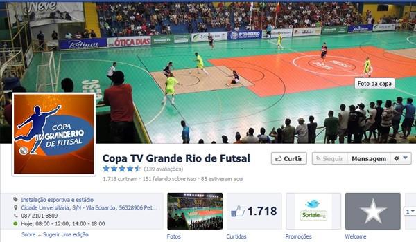 Página oficial no facebook da Copa TV Grande Rio de Futsal.  (Foto: Marketing TV Grande Rio)