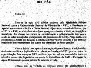 Liminar concede pelo MPF suspende matrículas de cursos de pós-graduação cobrados da UFU (Foto: MPF/Divulgação)