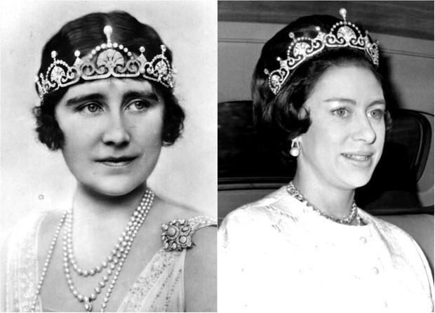 Elizabeth, Duquesa de York (mãe da Rainha Elizabeth II) e a filha mais nova, Princesa Margaret (Foto: Getty Images)