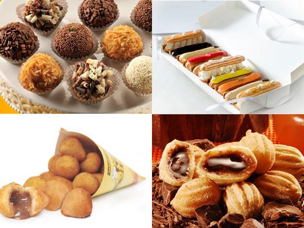 Empreendedores investem em mini churros, éclairs, coxinhas de doce de leite e brigadeiros finos (Foto: Divulgação/Montagem G1)