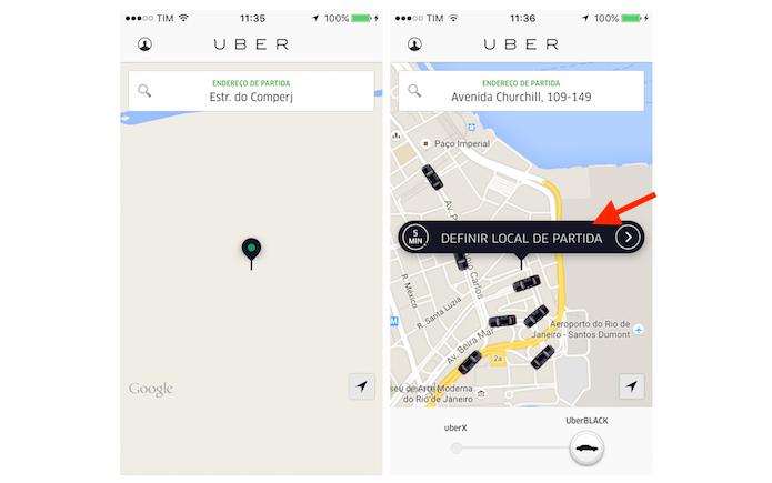Movendo o alfinete de localização do Uber para outro ponto da cidade (Foto: Reprodução/Marvin Costa)