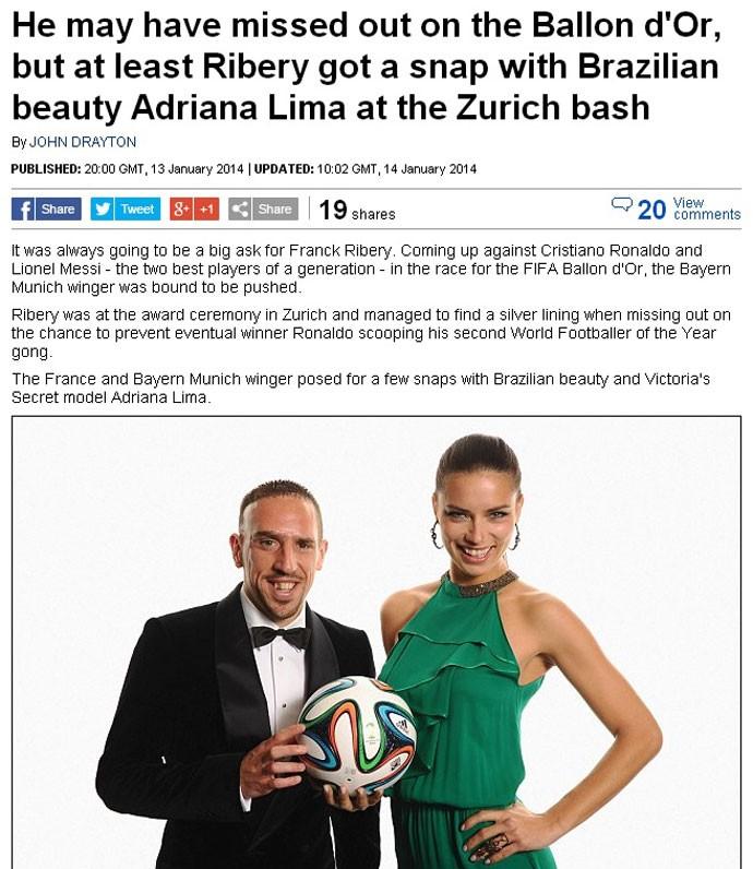 Adriana Lima com Ribery prêmio Bola de Ouro jornal (Foto: Reprodução)