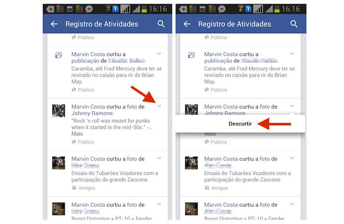 Descurtindo uma publicação do Facebook através do Registro de Atividades no Android (Foto: Reprodução/Marvin Costa)
