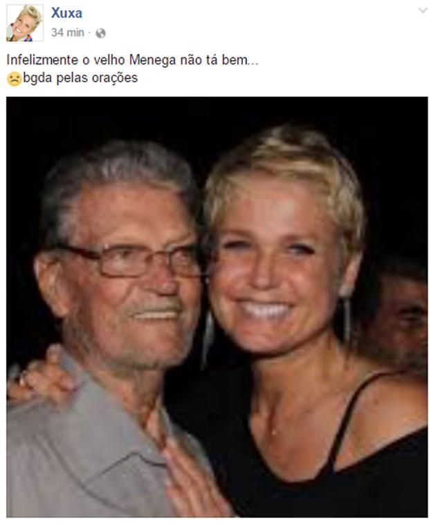 Xuxa fez post sobre o pai, Luiz Floriano Meneghel (Foto: Reprodução)
