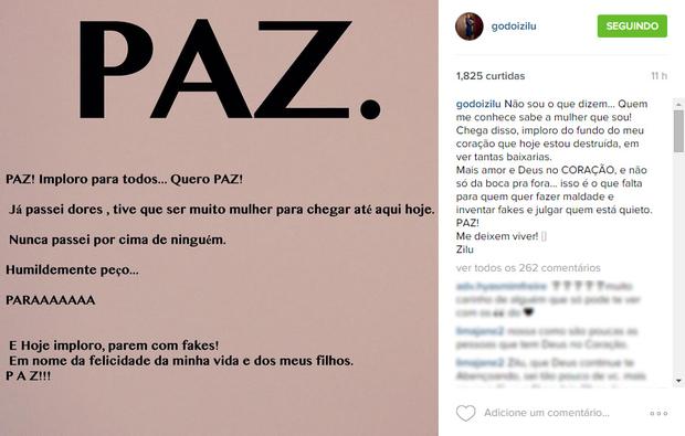 Zilu Godoi em post no Instagram (Foto: Instagram / Reprodução)