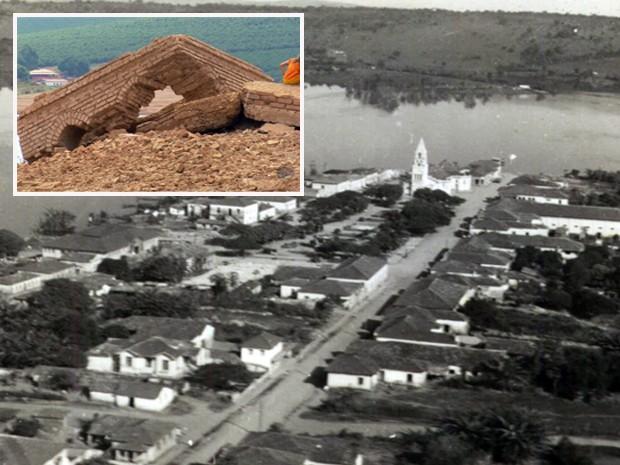 A cidade antiga, inundada e as ruínas: ressurgimento após cinco décadas. (Foto: Reprodução EPTV)