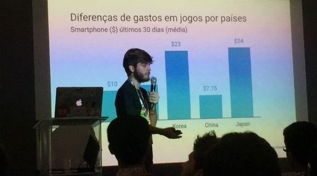 Caio Occhini, gerente de parcerias estratégicas da AdMob, durante palestra na Campus Party (Foto: PEGN)