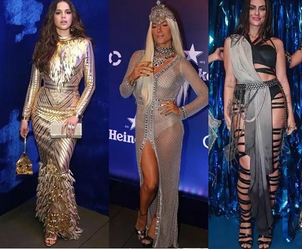 Bruna Marquezine (leão), Giovanna Ewbank (virgem) e Cleo Pires (libra) arrasaram com suas fantasias no clima Lady Zodiac (Foto: Reprodução)