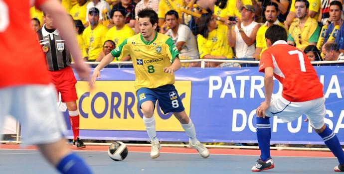 Brasil, de Cabreúva, vence o Chile pelo Sul-Americano de Futsal (Foto: Luciano Bergamaschi/CBFS)