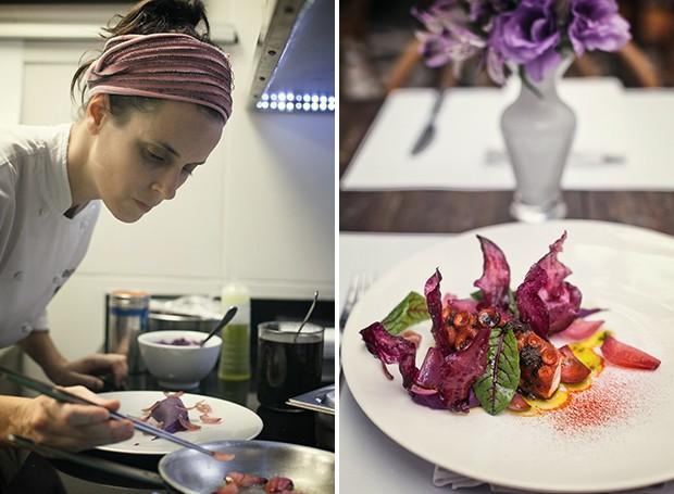 A chef Helena Rizzo, na cozinha do Maní, no preparo das cebolas que acompanham o polvo (à direita), finalizado no forno Josper e servido com purê de batata roxa e azeite de picada (Foto: Lufe Gomes/ Editora Globo)