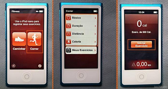 Personalize os itens da corrida no iPod Nano e inicie o treino (Foto: Barbara Mannara/TechTudo)