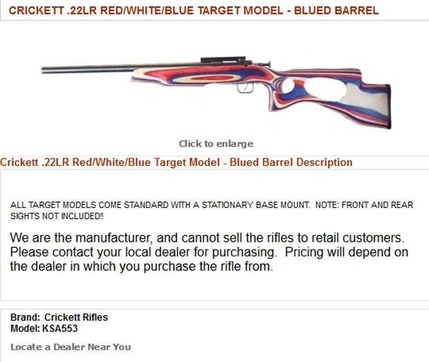Rifle envolvido no acidente era uma arma projetada especialmente para crianças (Foto: Reprodução/Crickett.com)