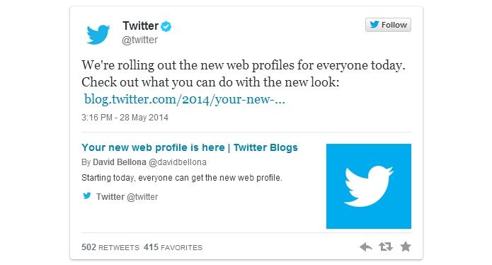 Twitter liberou novo design para a página de perfil a todos os usuários do microblog (Foto: Reprodução/Twitter)