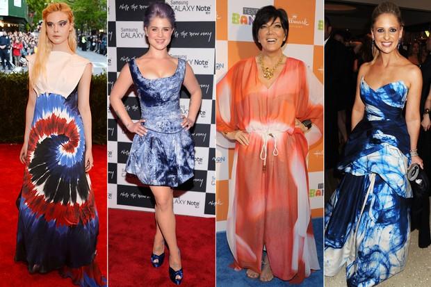 MODA - Tie dye - Elle Fanning, Kelly Osbourne, Kris Jenner e Sarah Michelle Gellar (Foto: Getty Images)