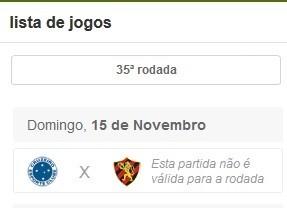 Cartola FC - jogo entre Cruzeiro e Sport não vale