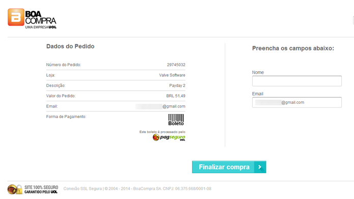 Preencha os seus dados e finalize a compra para gerar o boleto bancário (Foto: Reprodução/Tais Carvalho)