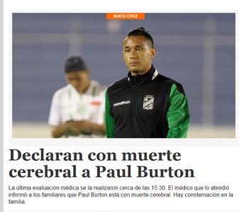 paul burton, do oriente petrolero, tem morte cerebral (Foto: Reprodução)