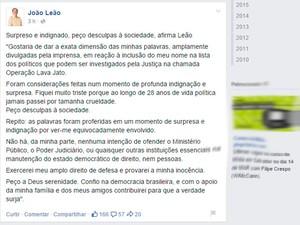 João Leão (PP-BA), vice-governador da Bahia, sobre 'cagando e andando' (Foto: Reprodução/Facebook)