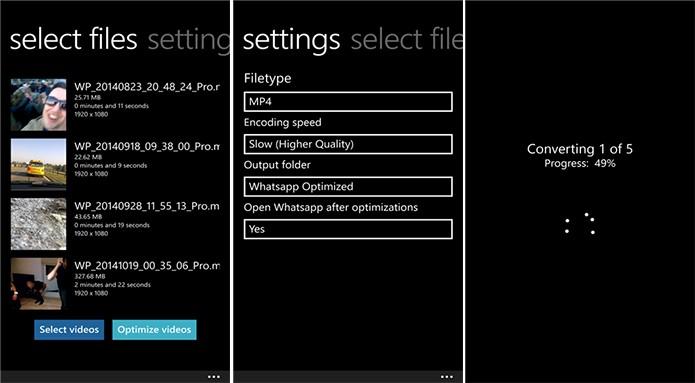 WhatsApp Video Converter diminui as gravações do usuário para enviar no WhatsApp (Foto: Divulgação/Windows Phone Store)