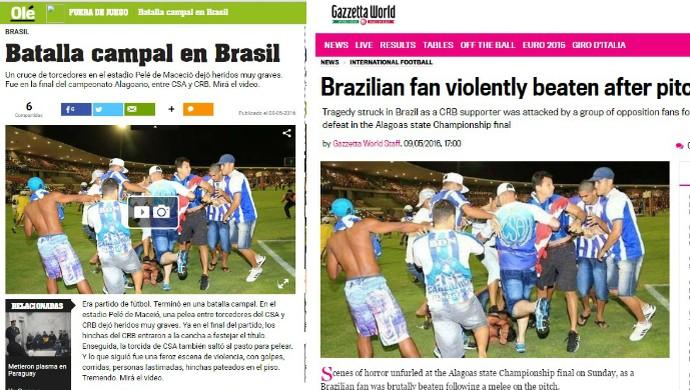 Briga entre torcedores de CRB e CSA repercute também no Olé e na Gazzetta Dello Sport (Foto: Reprodução Olé e Gazzetta Dello Sport)