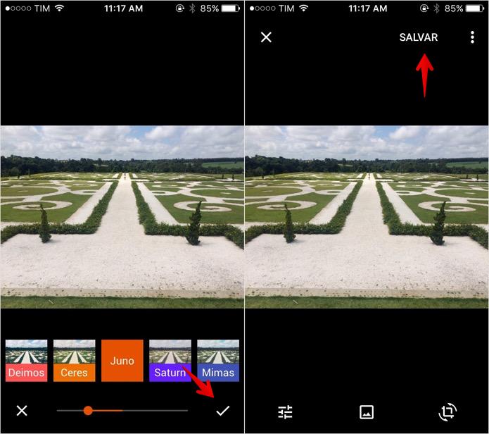 Aplique o filtro desejado e salve a foto (Foto: Reprodução/Helito Bijora)