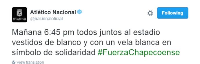 atlético nacional convoca torcida para homenagear a chapecoense (Foto: Reprodução Twitter)