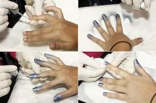 Esmalte em spray em quatro etapas: base, esmalte em spray, verniz e limpeza com lenços umedecidos (Foto: Celso Tavares/EGO)
