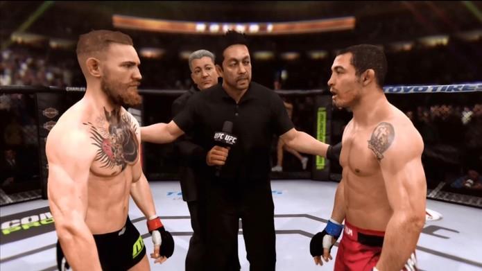 McGregor vs Aldo na simulação do game EA Sports UFC (Foto: André Luiz / Reprodução)