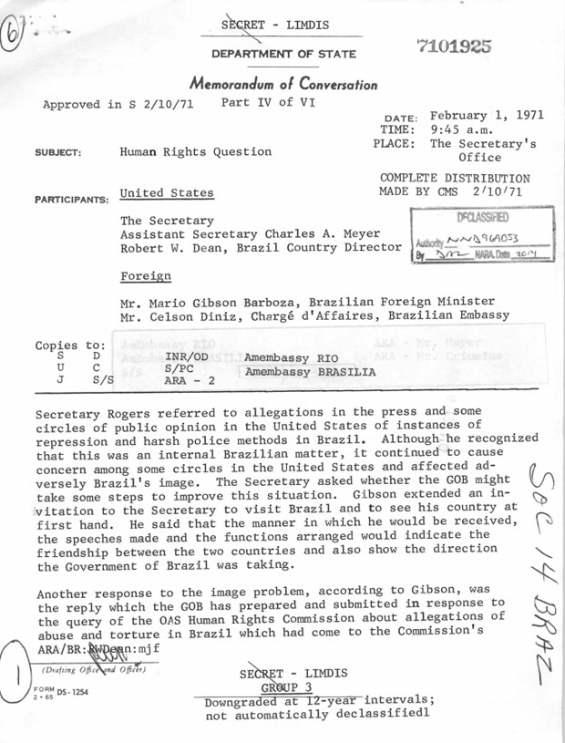 Memorando relata conversa com o ex-ministro das Relações Exteriores Mario Gibson Barboza sobre repressão policial no país (Foto: Reprodução/Department of State/Comissão da Verdade)