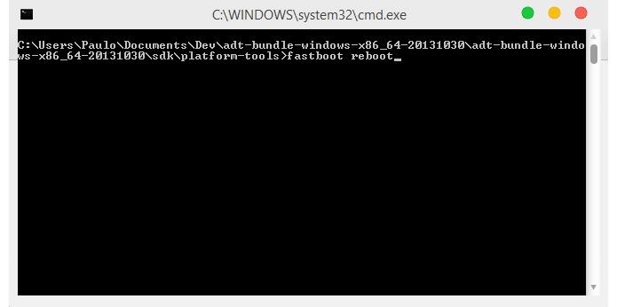 Depois de confirmar no celular, faça um reboot via janela de comando (Foto: Reprodução/Paulo Alves)