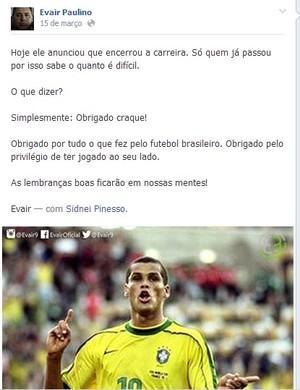 Evair, Rivaldo, homenagem facebook (Foto: reprodução Facebook)