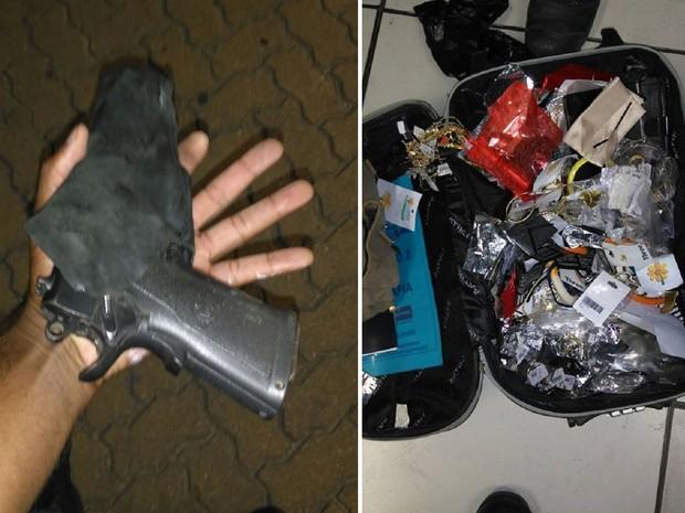 Pistola e objetos de furto foram encaminhados à delegacia de Rio das Ostras