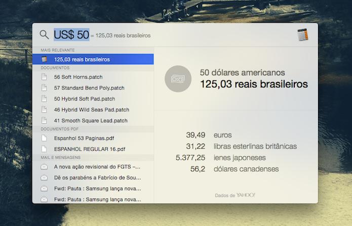 Conversão de moedas do Spotilight do Mac OS X Yosemite (Foto: Reprodução/Marvin Costa)