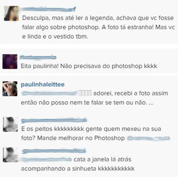 Comentário foto Paulinha (Foto: Instagram / reprodução)