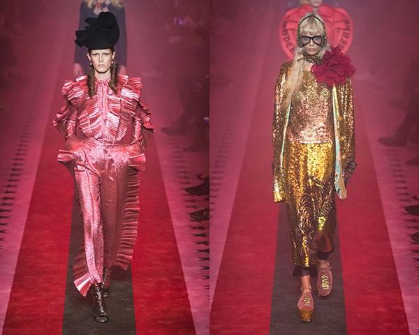 O desfile da Gucci foi repleto de brilhos e paetês (Foto: Imaxtree)