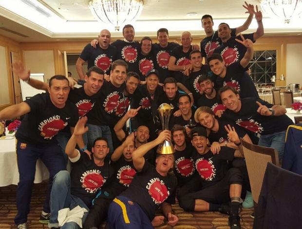 Jogadores do Barcelona comemoram Mundial