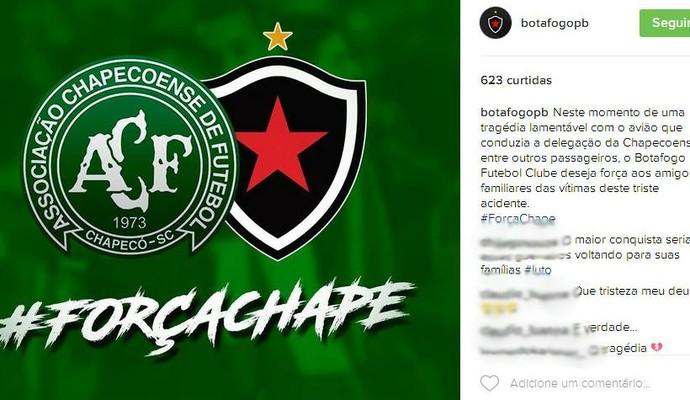 Botafogo-PB lamenta a queda de avião da Chapecoense (Foto: Reprodução / Instagram)