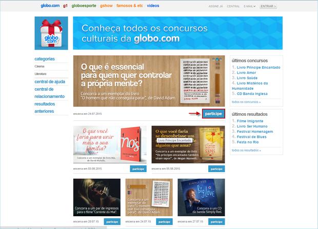 Como encontro a página de Concursos Culturais da globo.com? (Foto: 01)