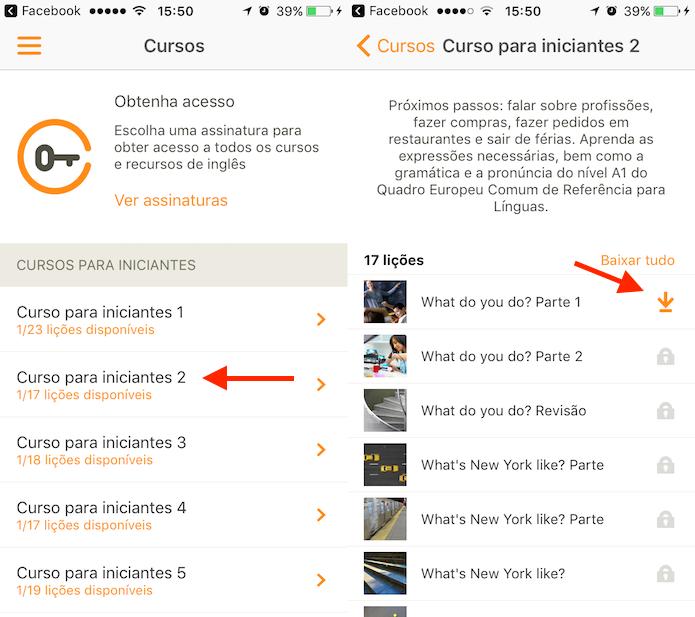 Opção para baixar um curso no aplicativo que ensina idiomas Babbel (Foto: Reprodução/Marvin Costa)
