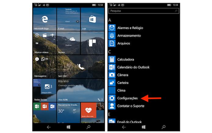 Acessando as configurações do Windows 10 Mobile (Foto: Reprodução/Marvin Costa)
