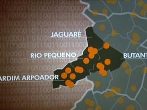 Regiões com mais homicídios (Foto: TV Globo/Reprodução)