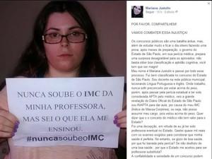 Desabafo de professora em rede social teve apoio e indignação (Foto: Reprodução / facebook)