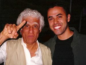 Ziraldo e Dalcio Machado no Salão Internacional de Humor de Piracicaba em 2001 (Foto: Acervo pessoal/Dalcio Machado)