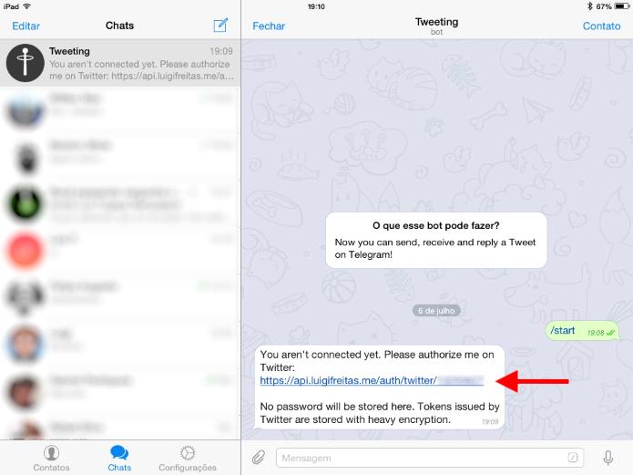 Ao iniciar o bot, um link será gerado para conectar à conta do Twitter (Foto: Reprodução/Ricardo Fraga)