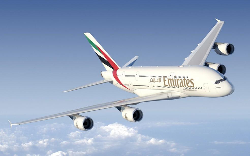 Emirates Airlines vai operar o Airbus A380 na rota Dubai-Guarulhos (Foto: Divulgação/Emirates Airlines)