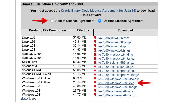 Aceite os termos para baixar uma versão antiga do Java (Foto: Reprodução/Helito Bijora)