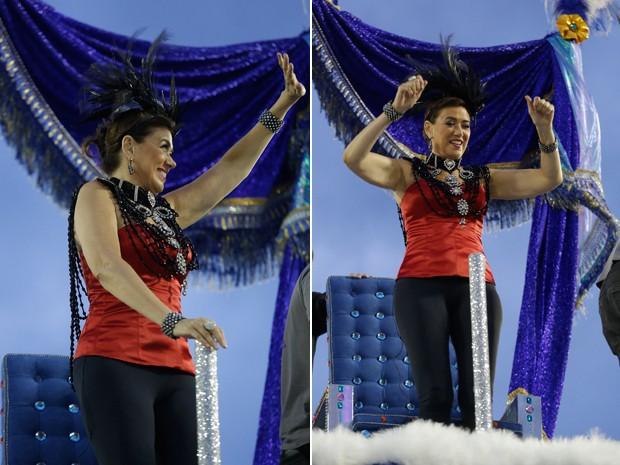 Lilia Cabral brinca e acena para o público nas arquibancadas (Foto: Artur Meninea/Gshow)